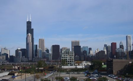 downtown Chicago skyline from Southern suburbs illinois Stock Photo - 565286