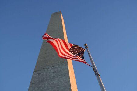 Washington monument and American flag