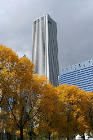 aon: Aon tower in autumn Stock Photo