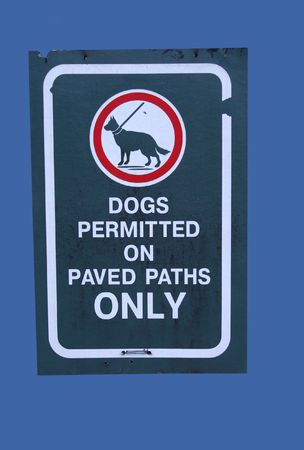 permitted: dogs permitted on paved paths Stock Photo