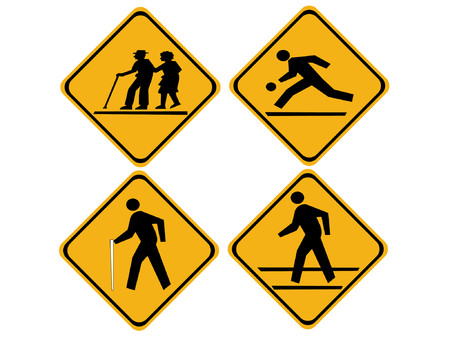 old couple walking: pedestrian warning signs elderly, blind, children crossing