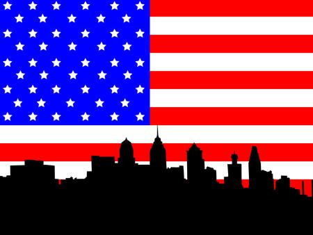 philadelphia: Philadelphia skyline against American Flag