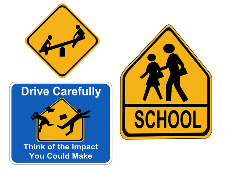 warning children signs school, drive carefully Illustration