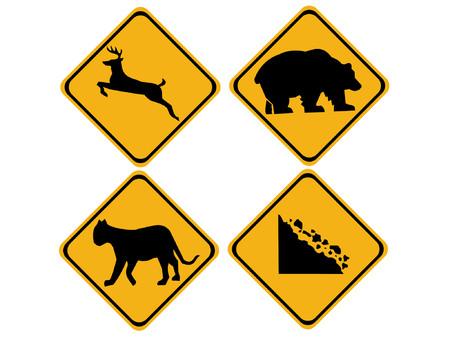 warning wildlife signs deer, bear, puma Stock Vector - 586346