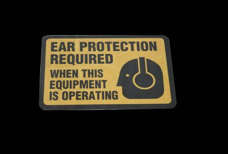 deafening: ear protection required Stock Photo