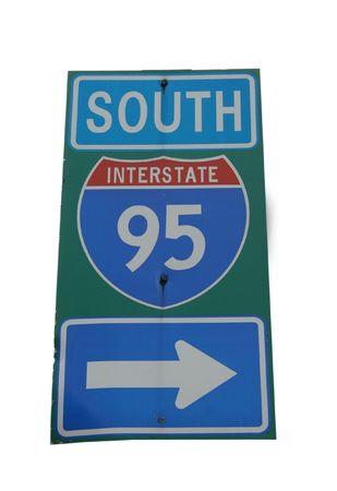 95: Interstate 95 in direzione sud segno con freccia