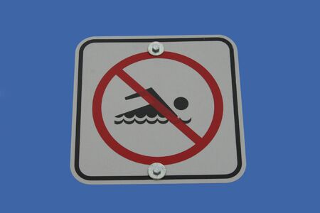 no swimming sign: No swimming sign with swimmer symbol