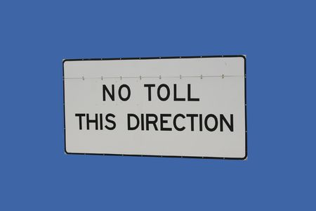 toll: no toll this direction sign