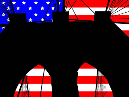 manhattan bridge: Brooklyn bridge tower against American Flag illustration