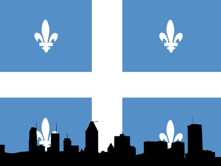 quebec: Montreal skyline against Quebec Flag illustration Illustration