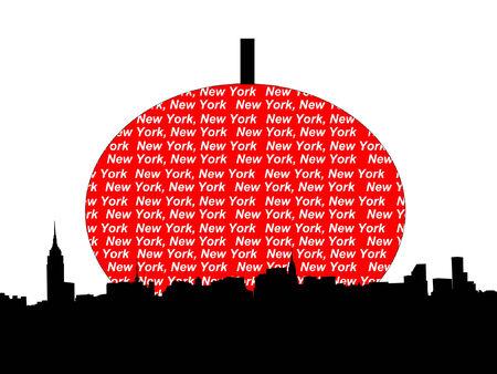 Midtown manhattan New York City skyline against big apple illustration Vector