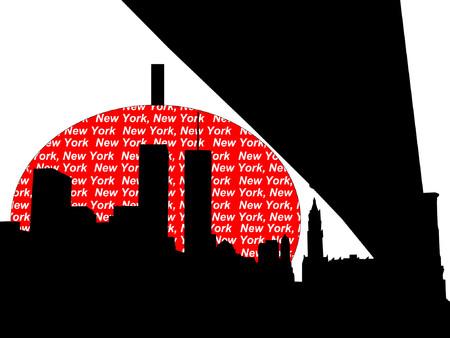 world trade center: Brooklyn Bridge and World Trade Center against big apple illustration Illustration