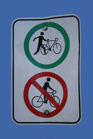 dont walk: Walk dont ride bicycles Stock Photo