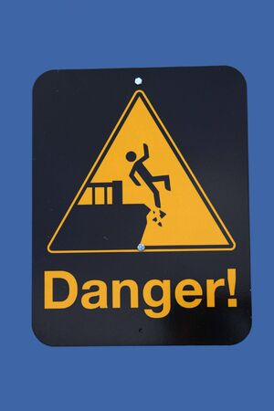 steep cliffs sign: Danger steep cliff sign