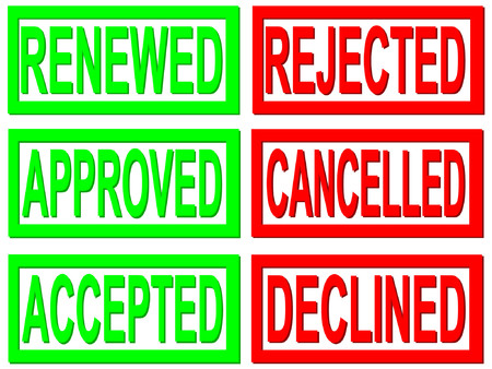 permitted: accepted, rejected, cancelled stamps