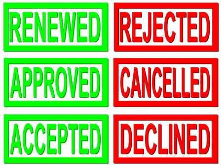 refused: aceptado, rechazado, sellos de cancelado