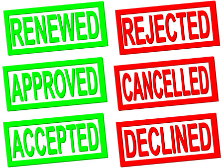 terminated: accepted, rejected, cancelled transparent stamps Illustration