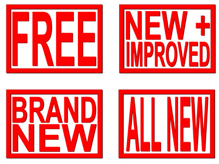 improved: brand new, free, new and improved stamps Illustration