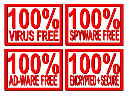 100% virus, spyware, ad-ware free Vector