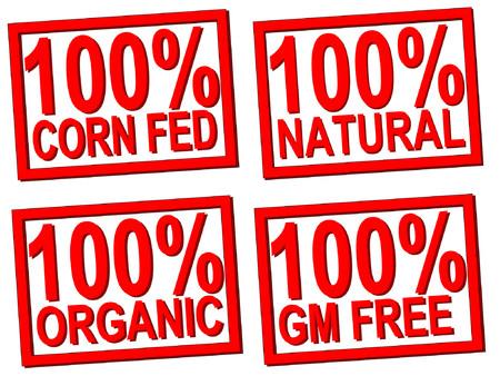 100% organic, natural, stamps transparent Vector