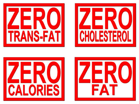 calorie: Zero trans-fat, cholesterol, fat, calorie on white background Illustration