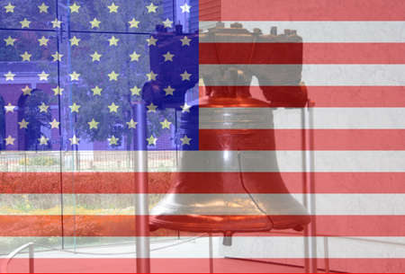 Liberty bell Philadelphia Pennsylvania and American flag montage photo