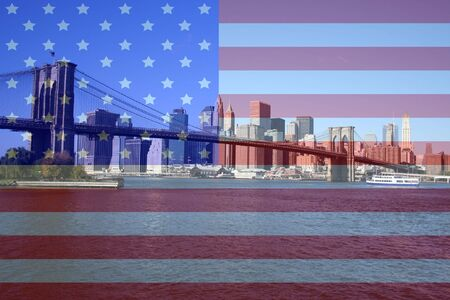 Brooklyn Bridge and Lower Manhattan skyline with American flag montage Stock Photo - 613543