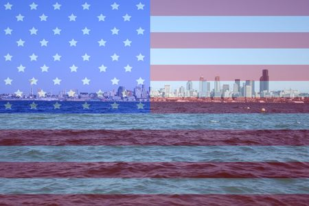 Seattle skyline Puget Sound and American flag montage Stock Photo - 613534