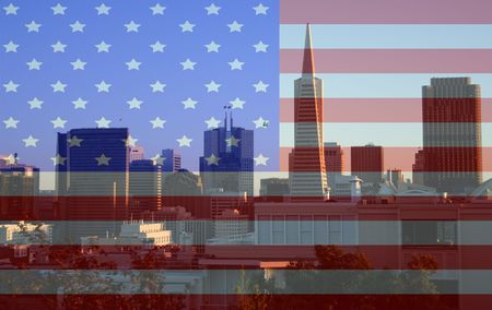 San Francisco skyline from Coit Tower American Flag montage Stock Photo - 613530
