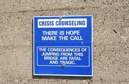 crisis counseling sign on Golden Gate Bridge