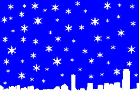 coldness: Boston skyline in winter with snowflakes