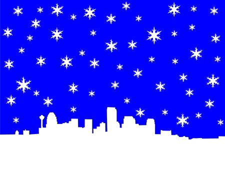 calgary Skyline in winter with snowflakes Stock Vector - 631547