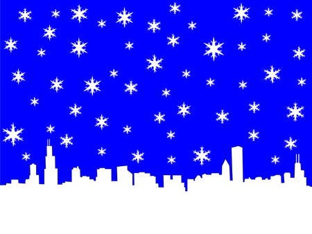 coldness: Chicago Skyline in winter with snowflakes