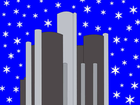 Renaissance center Detroit with snowflakes Stock Vector - 631545