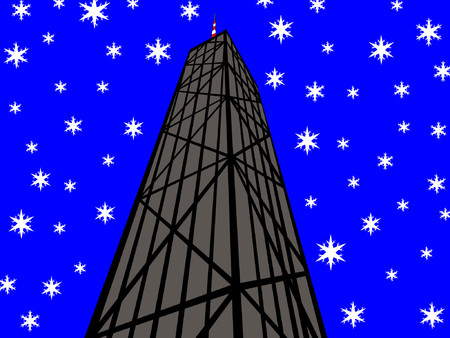 John Hancock Tower Chicago with snowflakes Vector