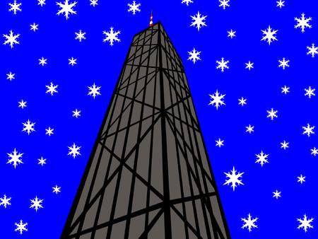 john hancock: John Hancock Tower Chicago with snowflakes