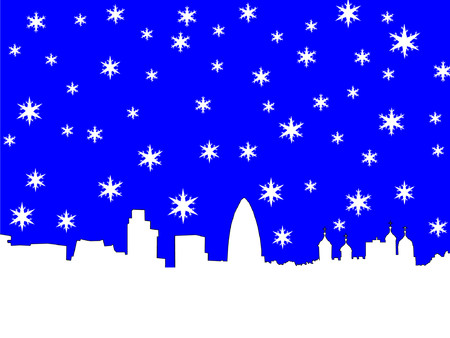 London skyline in winter with snowflakes Vector