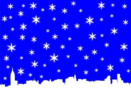 iciness: Midtown manhattan skyline in winter with snowflakes