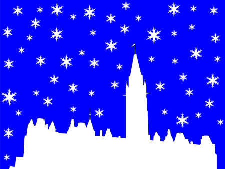 Canadian parliament in winter with snowflakes Vector
