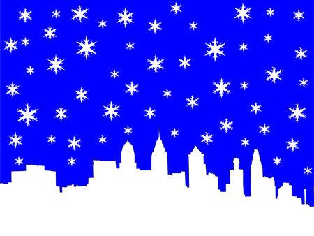 philadelphia: Philadelphia skyline in winter with snowflakes
