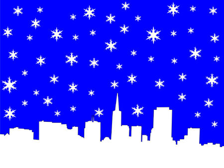 transamerica: San Francisco skyline in winter with snowflakes