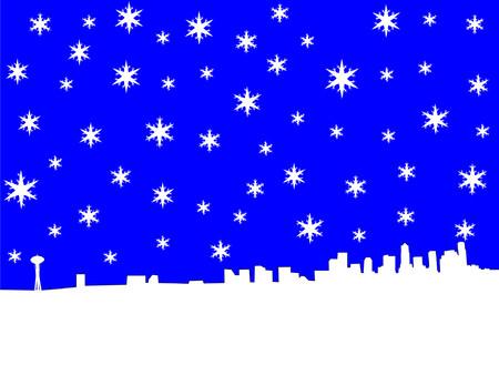 seattle skyline: Seattle skyline in winter with snowflakes Illustration