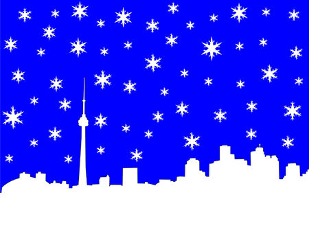 iciness: Toronto skyline in winter illustration with snowflakes