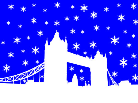 Tower Bridge London in winter with snowflakes Vector
