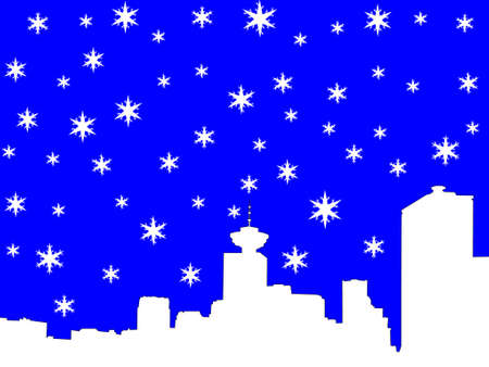 iciness: Vancouver skyline in winter with snowflakes