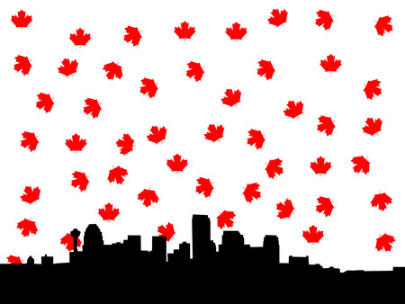 calgary: Calgary skyline in autumn illustration Illustration