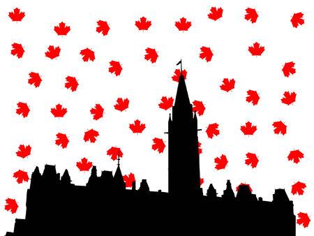 parliament: Ottawa skyline in autumn illustration