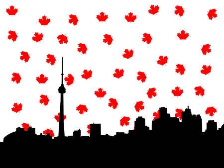 toronto: Toronto skyline in autumn illustration