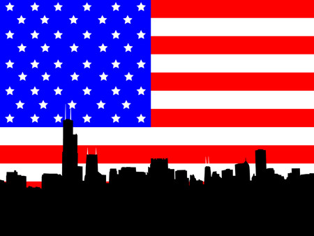 sears: Chicago skyline and American Flag illustration Illustration