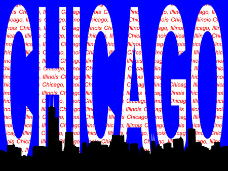 Chicago Skyline and text illustration